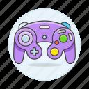 consoles, controller, game, gamecube, gamepad, nintendo, purple, retro, video, vintage icon