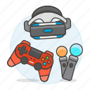 consoles, controller, game, headset, move, playstation, ps4, reality, video, virtual, vr