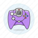 consoles, controller, dreamcast, game, gamepad, purple, retro, video, vintage icon