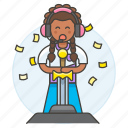 competition, confetti, egames, esports, female, game, gaming, player, sword, video, winner icon