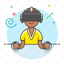 2, controller, enviroment, game, headset, male, playing, reality, video, virtual, vr icon