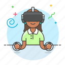 controller, enviroment, female, game, headset, playing, reality, video, virtual, vr icon