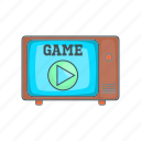 cartoon, circle, game, old, retro, tv, vintage icon