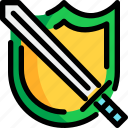 game, item, rpg, shield, sword, video, weapon icon