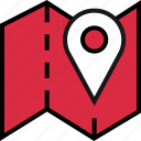 folded, google, map icon