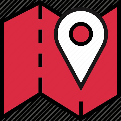 folded, google, map icon