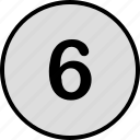 number, six, track icon