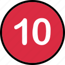 number, ten, track, up icon