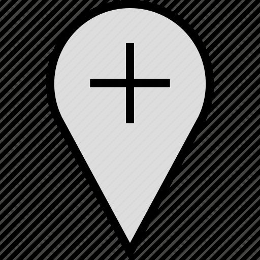 google, locate, pin, plus icon