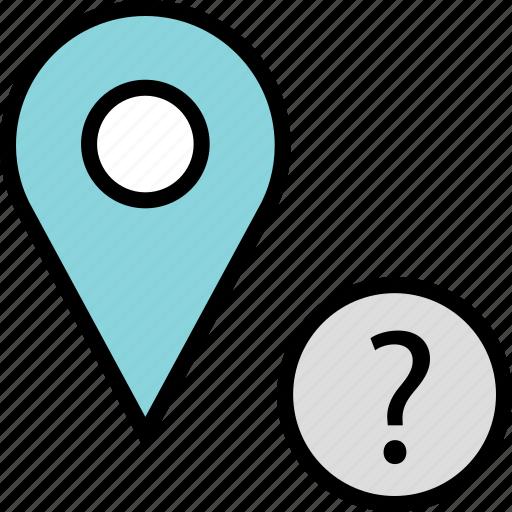 google, locate, question icon