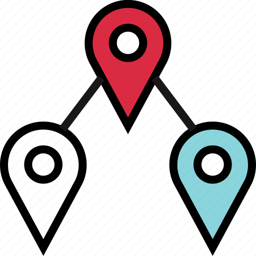 google, locate, three icon
