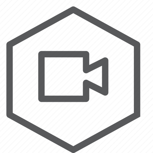 call, camera, communication, conversation, hexagon, meeting, video icon