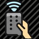 modern, tv, remote, hand