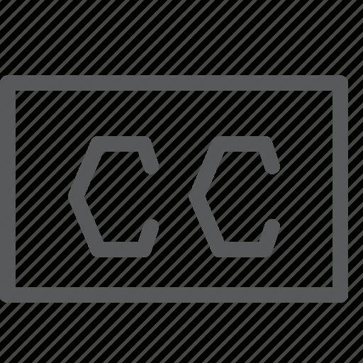 camera, cc, creative commons, license, movie, player, video icon