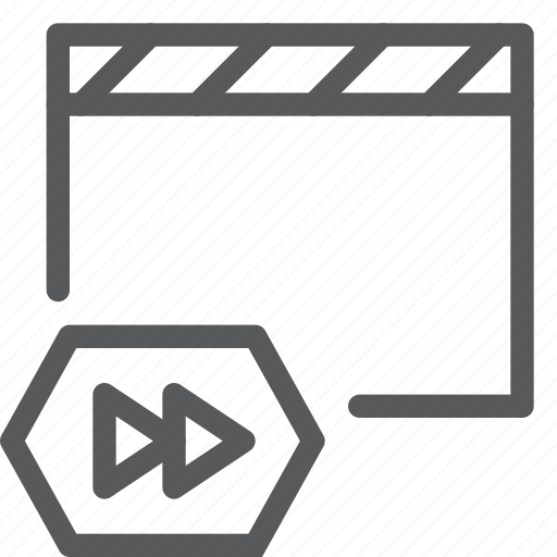 clapboard, control, fast, film, forward, media, movie, player, video icon