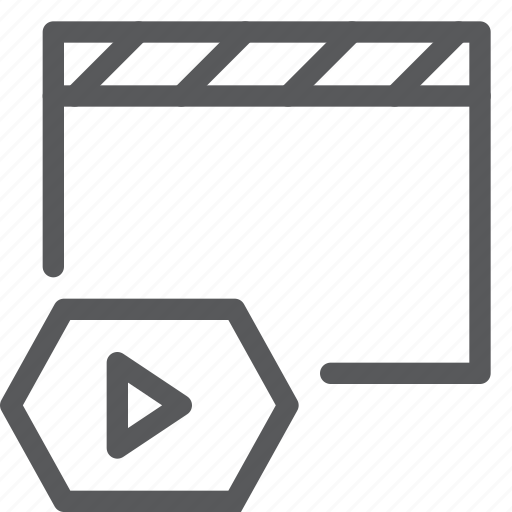 clapboard, control, film, media, movie, player, video, watch icon
