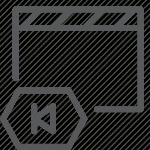 back, clapboard, control, film, left, media, movie, player icon