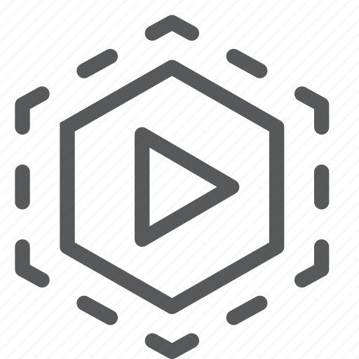 control, film, hexagon, movie, player, stream, video, watch icon