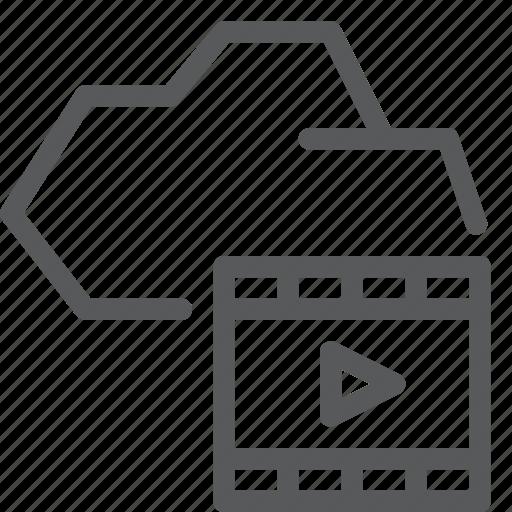 cloud, media, player, storage, transfer, upload, video icon