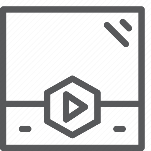 control, film, hexagon, movie, player, tab, video, watch icon