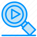 research, search, video icon