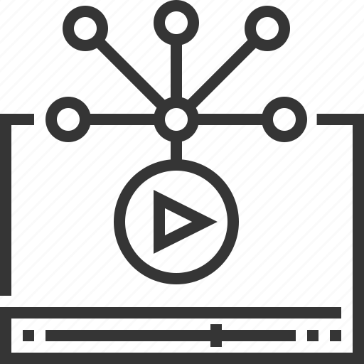 internet, movie, play, share, social media, video distribution icon