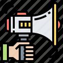 announcement, broadcast, bullhorn, loudspeaker, megaphone