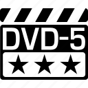 clapper, dvd5, video format icon