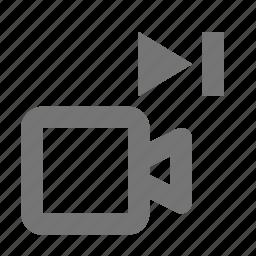 camera, movie, next, skip, video icon