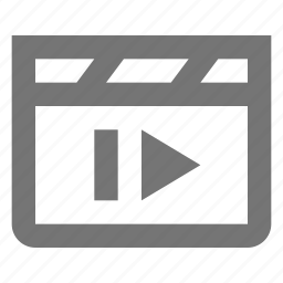 clapboard, media, movie, next, skip, video icon