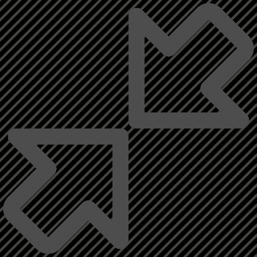 arrows, diagonal, scale, shrink icon