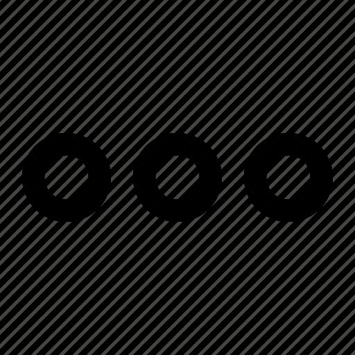 dots, extra, menu, more, options icon