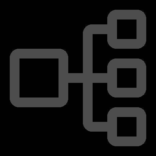 flowchart, hierarchy, process, sideways icon