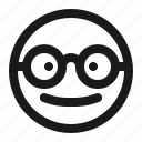 emoji, eyeglasses, geek, glasses, nerd icon