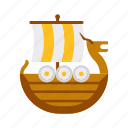 antique, fancy, game, medieval, shallop, ship, viking icon
