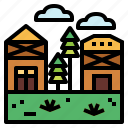 landscape, nature, scenery, village icon