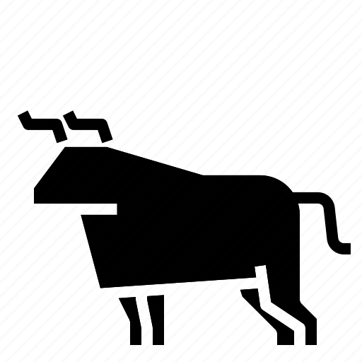 bull, cow, farm, village icon