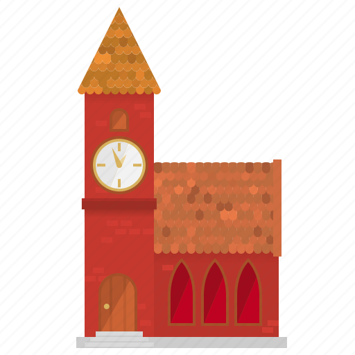 bell tower, building, church, gothic, old, shingles, village icon