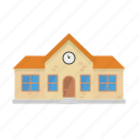 building, education, facade, house, public, school, village icon