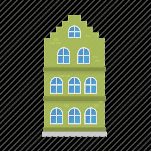 building, facade, home, house, renaissance, townhouse, village icon