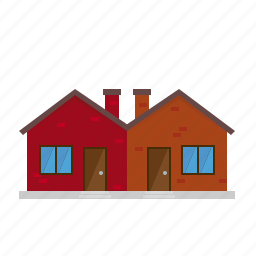 building, facade, house, townhouse, twin house, village icon