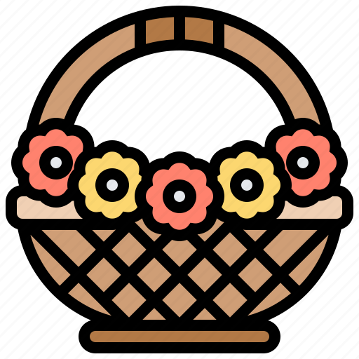 busket, decoration, flower, vintage icon
