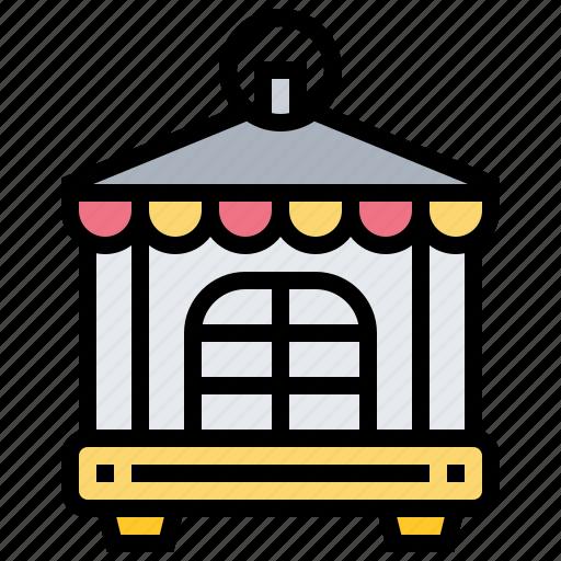 bird, cage, decoration, vintage icon