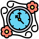 clock, decoration, time, vintage icon