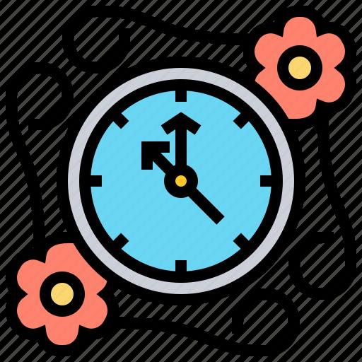 clock, decoration, time, vintage icon