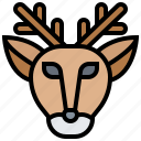 decoration, deer, head, vintage icon