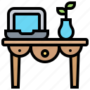 decoration, desk, furniture, table, vintage icon