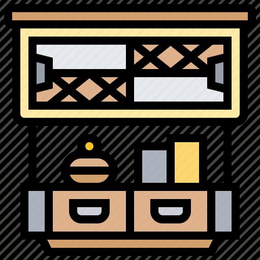 cabinet, decoration, kitchen, shelves, vintage icon