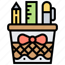 basket, pencil, ruler, stationery, tool icon