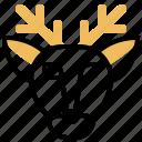 decoration, deer, head, vintage icon
